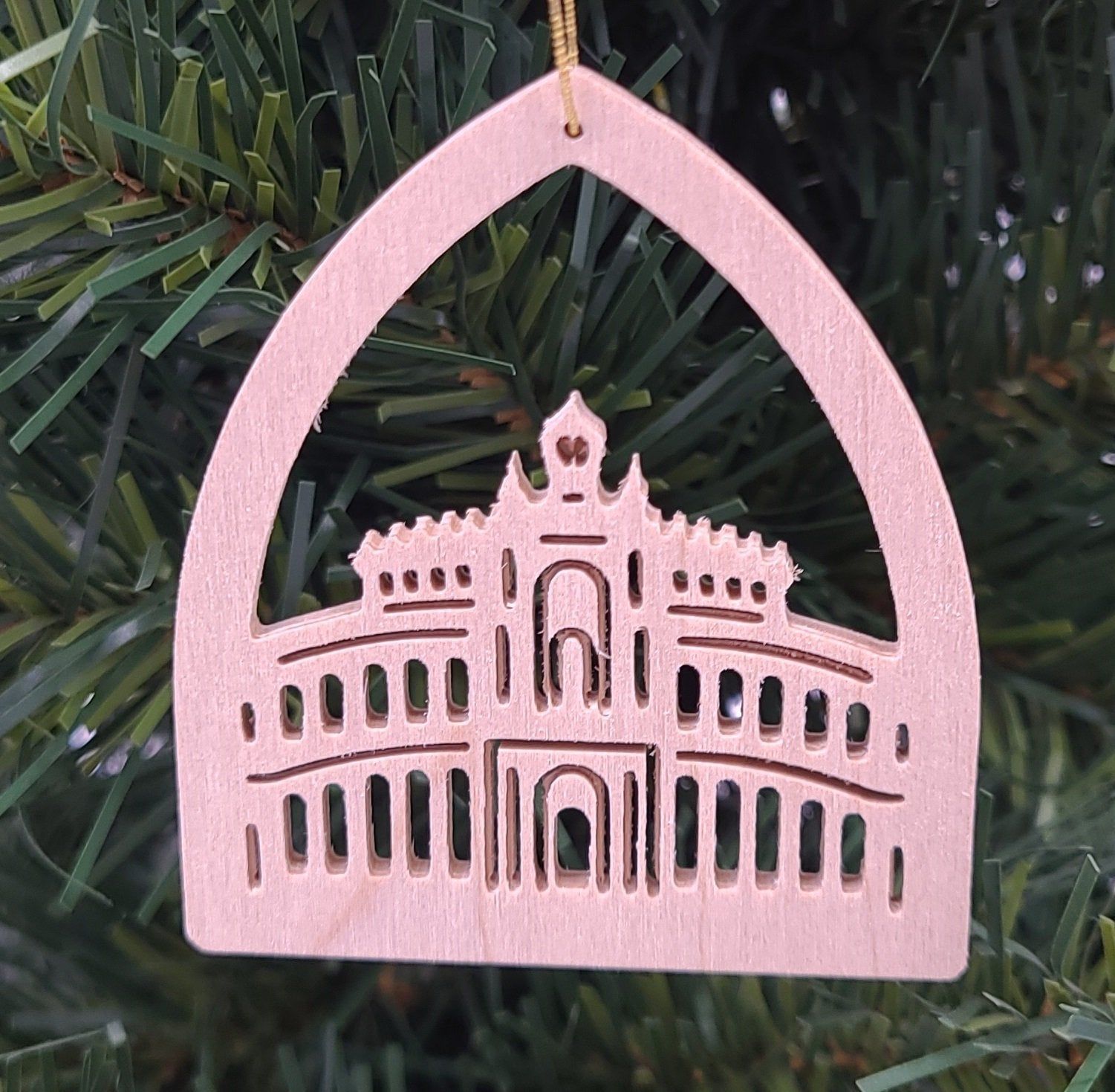 Handmade Wood Semper Opera hanging ornament - Schmidt Christmas Market Christmas Decoration