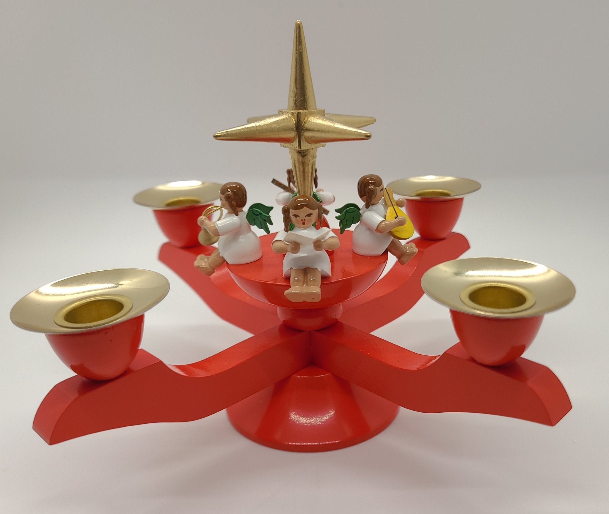 Handmade Wood small Red Candle holder with 4 angels and Gold Star - Schmidt Christmas Market Christmas Decoration