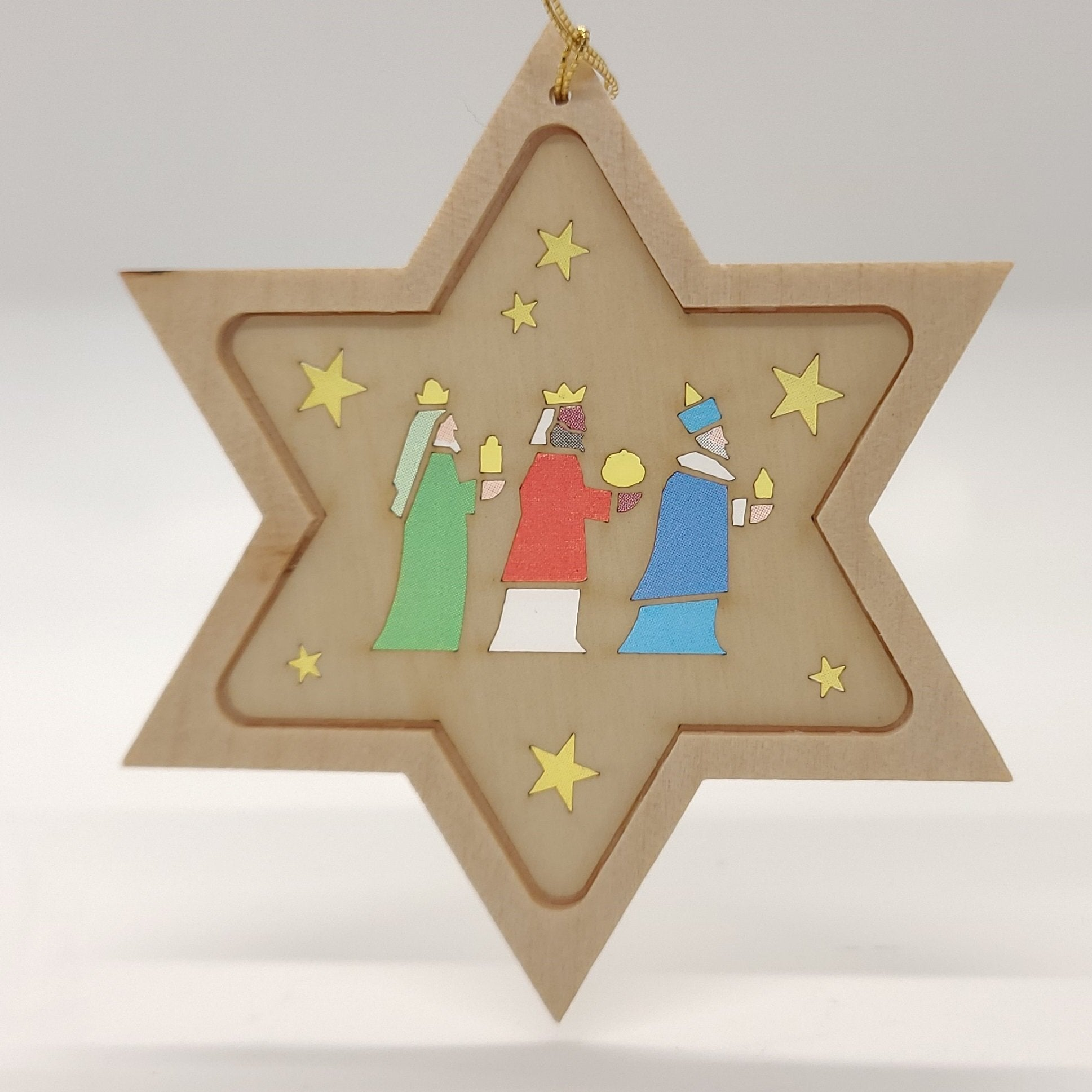 Handmade Wood Star na may 3 Wise Men na nakasabit na gayak - Schmidt Christmas Market Christmas Decoration