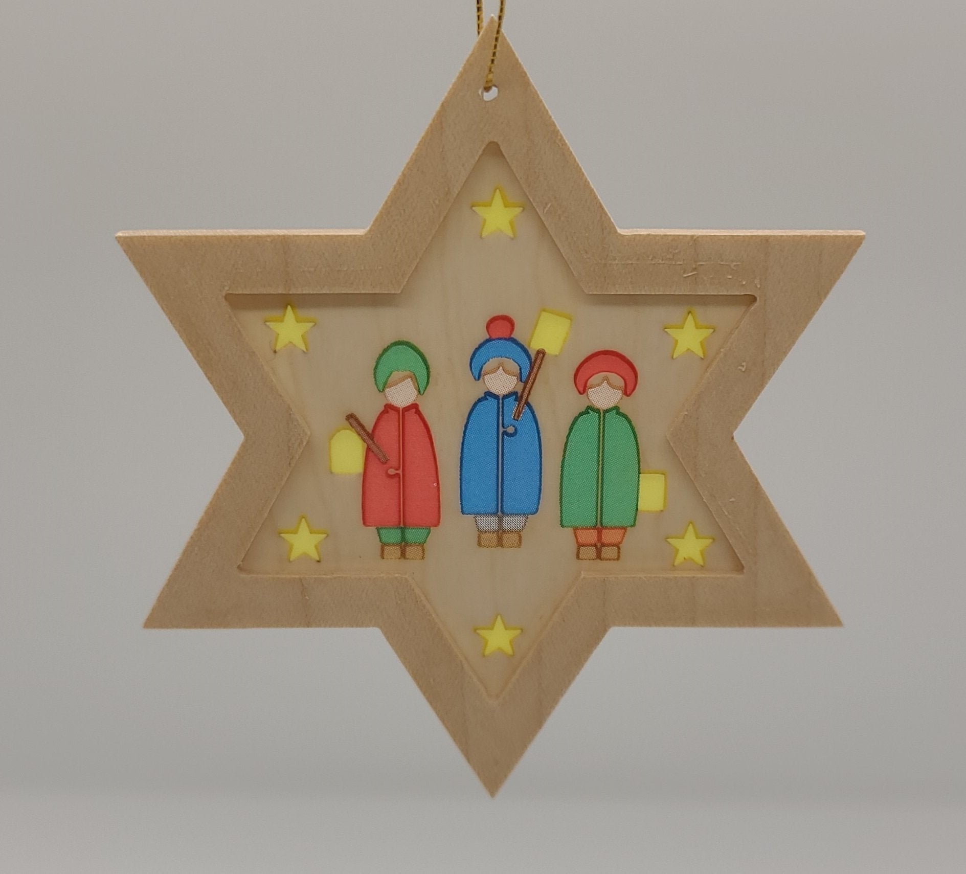 Handmade Wood Star with Children hanging ornament - Schmidt Christmas Market Christmas Decoration