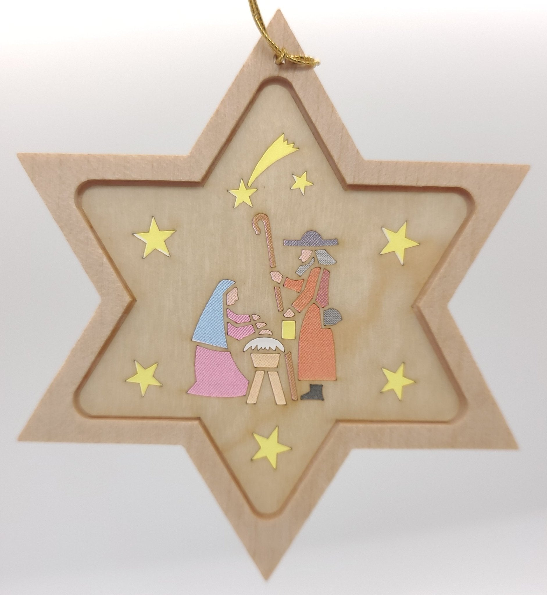 Handmade Wood Star na may Holy Family hang ornament - Schmidt Christmas Market Christmas Decoration