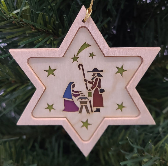 Handmade Wood Star with Holy Family hanging ornament - Schmidt Christmas Market Christmas Decoration