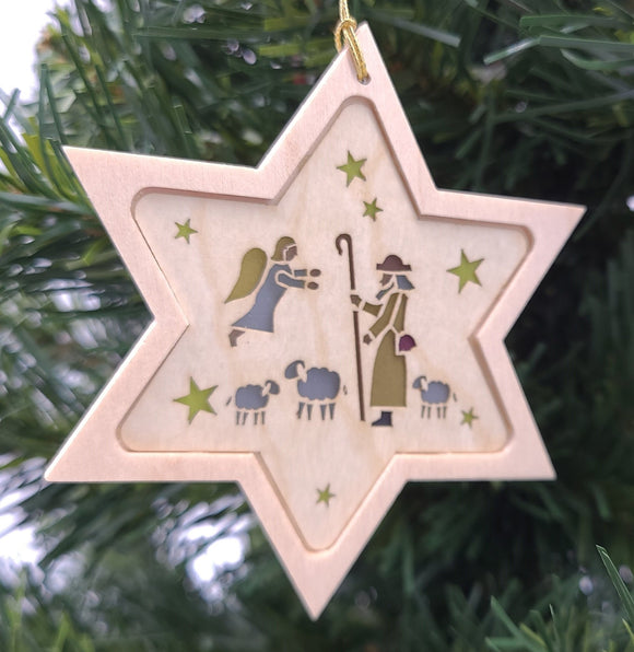 Handmade Wood Star with Shepherd hanging ornament - Schmidt Christmas Market Christmas Decoration
