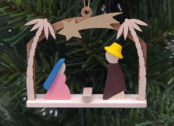 Handmade Wood Windows Nativity Hanging Ornament - Schmidt Christmas Market Christmas Decoration