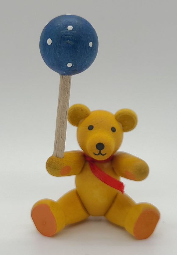Handmade Wood Yellow Bear with Blue Balloon - Schmidt Christmas Market Christmas Decoration