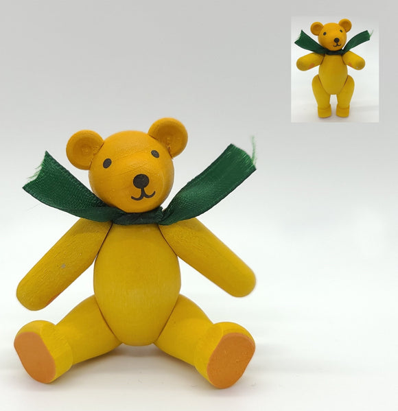 Handmade wood Yellow Bear with movable joints - Schmidt Christmas Market Christmas Decoration