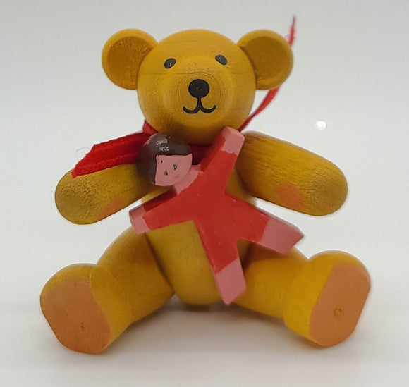 Handmade Wood Yellow Bear with Red Doll - Schmidt Christmas Market Christmas Decoration
