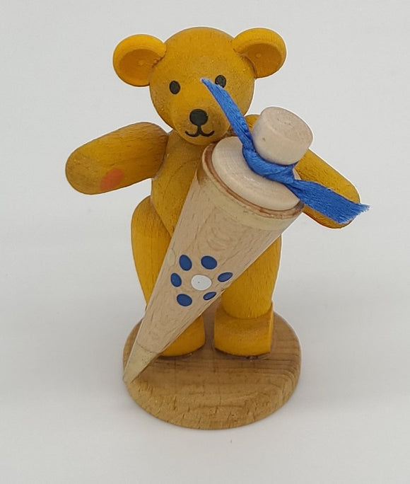 Handmade Wood Yellow Schoolboy bear with a sugar bag - Schmidt Christmas Market Christmas Decoration