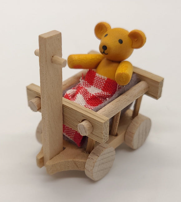 Handmade Yellow Bear in Wagon - Schmidt Christmas Market Christmas Decoration