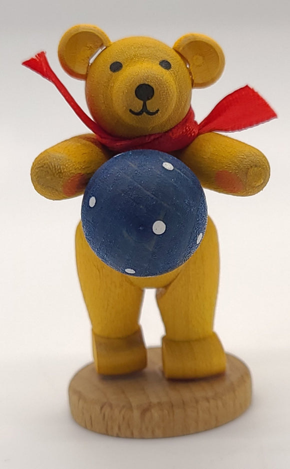 Handmade Yellow Bear with Blue Ball - Schmidt Christmas Market Christmas Decoration
