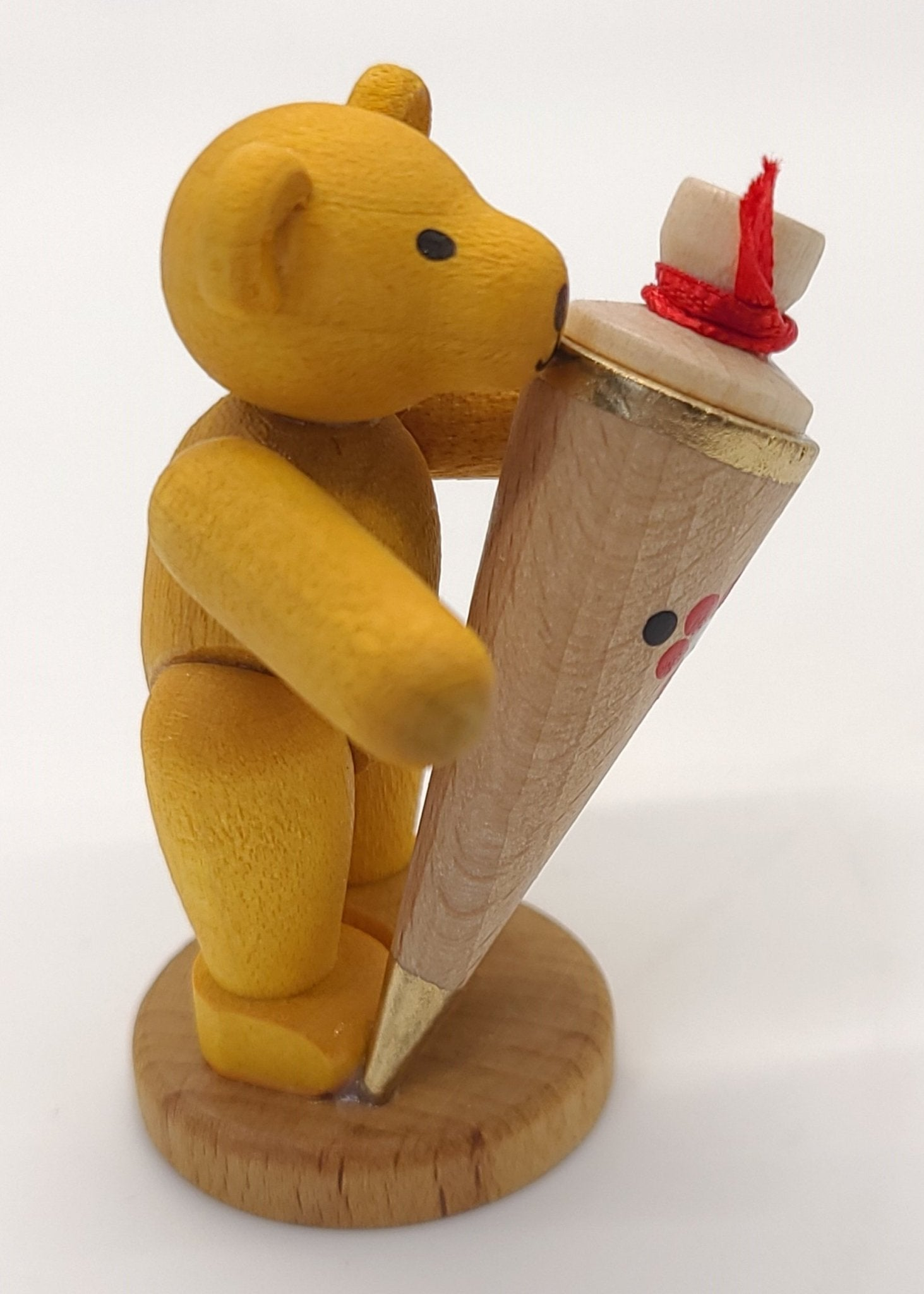 handmade Yellow Bear with Red Bow and Cone of Treats - Schmidt Christmas Market Christmas Decoration