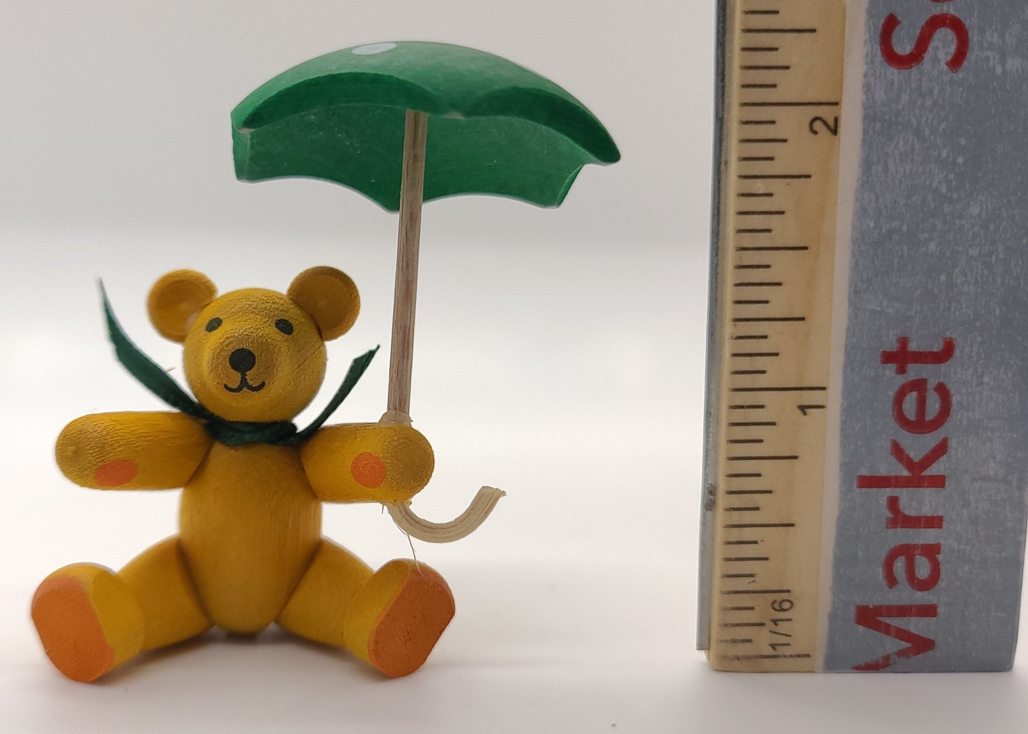 Handmade Yellow Bear with Umbrella - Schmidt Christmas Market Christmas Decoration