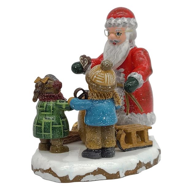 Hubrig Folk Art Winter Thank you dear Santa Claus 3.5 inches tall German handmade Decoration - Schmidt Christmas Market Christmas Decoration