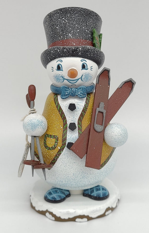 Hubrig Smoker Gnome - Snowman Ski Instructor 14 cm Incense Burner - Schmidt Christmas Market Christmas Decoration