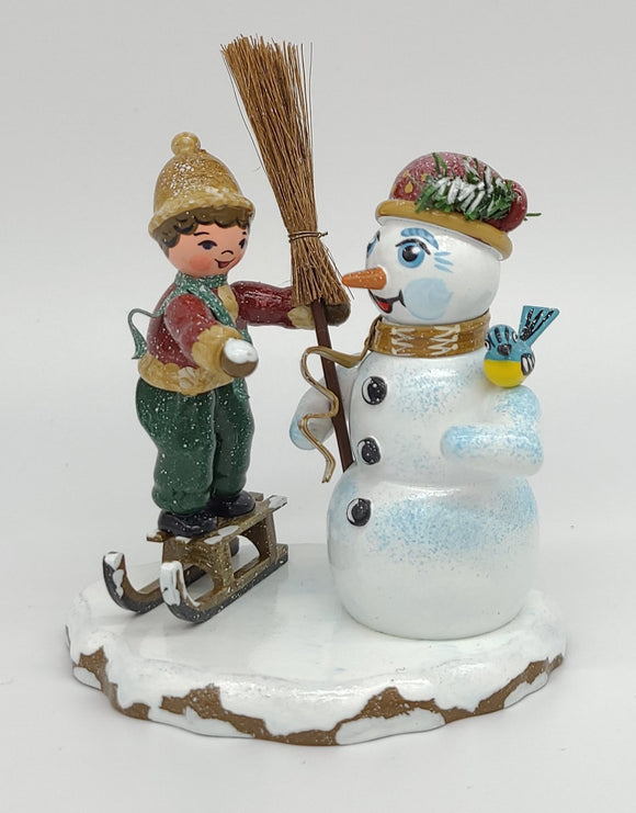 Hubrig Winter Child Boy with Snowman 4.3 inches German handmade Decoration - Schmidt Christmas Market Christmas Decoration
