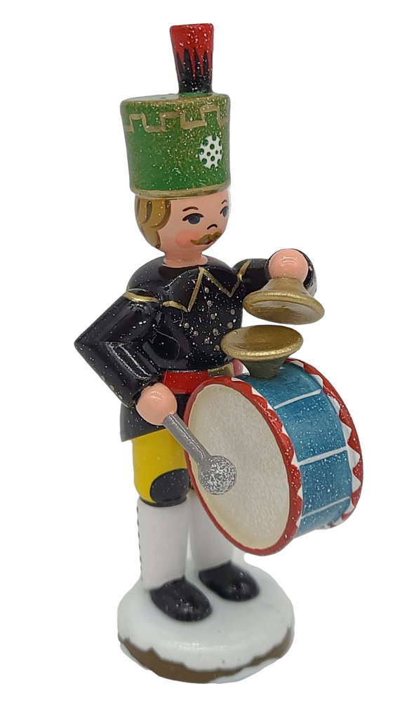 Hubrig Winter Drummer 3.5 inches tall German handmade Decoration - Schmidt Christmas Market Christmas Decoration