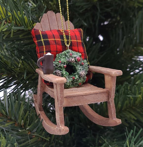 Kurt Adler 4' Resin Rocking Chair With Wreath And Blanket - Schmidt Christmas Market Christmas Decoration