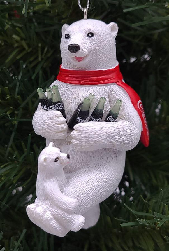 "Kurt Adler 4.25"" White Polar Bears with Coca-Cola Bottles Christmas Ornament - Schmidt Christmas Market Christmas Decoration"
