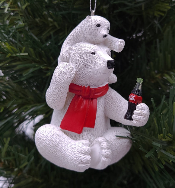 Kurt Adler Coca-Cola® Polar Bear With Cub Ornament - Schmidt Christmas Market Christmas Decoration