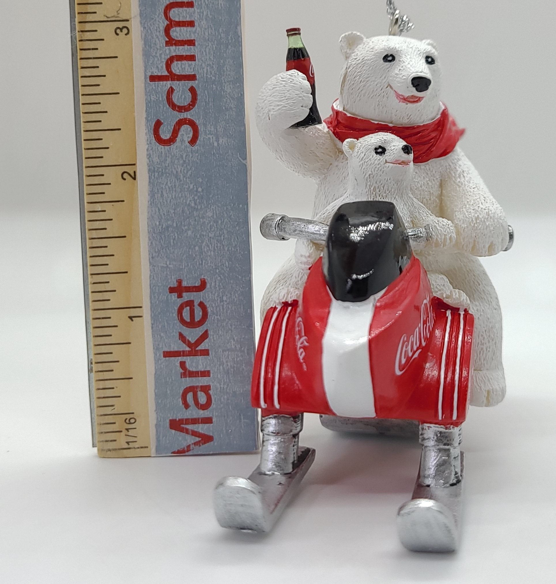 Kurt Adler Coca-Cola Polar Bear With Cub Riding Snow Mobile Ornament - Schmidt Kirihimete Kirihimete Whakapaipai Kirihimete