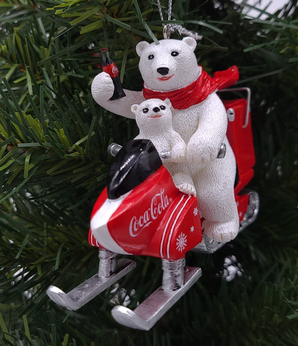 Kurt Adler Coca-Cola Polar Bear With Cub Riding Snow Mobile Ornament - Schmidt Christmas Market Christmas Decoration