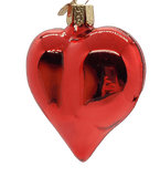 Large Blown Glass Hanging Shiny Red Heart Ornament - Schmidt Christmas Market Christmas Decoration
