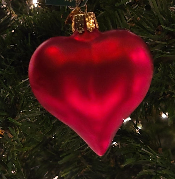 Large Matte Red Heart Ornament - Schmidt Christmas Market Christmas Decoration