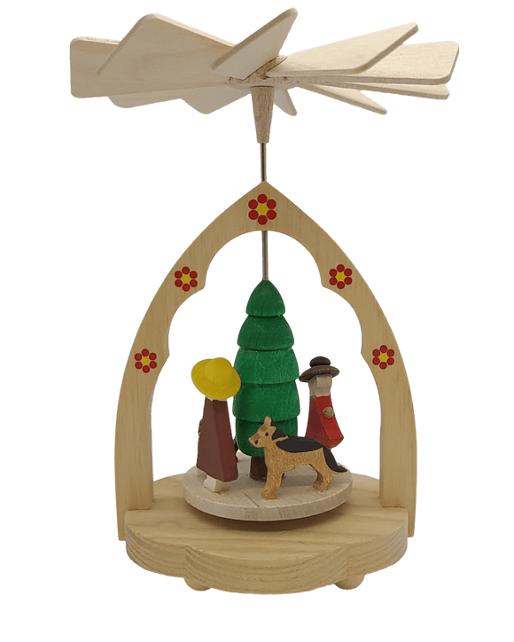 Miniature-Pyramid Family with Dogs from Seiffen in the Ore Mountains - Schmidt Christmas Market Christmas Decoration