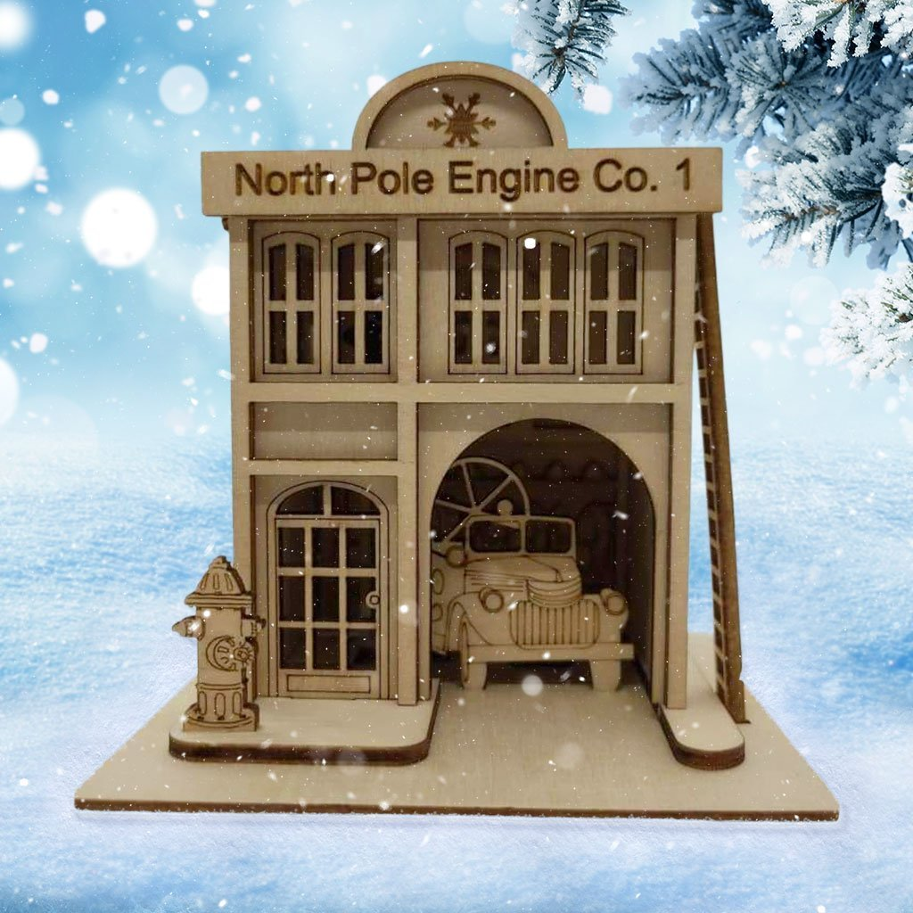 North Pole Engine Company Firehouse - Schmidt Kersmark Kersversiering