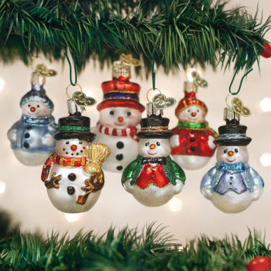 Old World Christmas Mini Ornamen Sets Glass Blown Ornaments for Christmas Tree Snowman - Schmidt Christmas Market Christmas Decoration