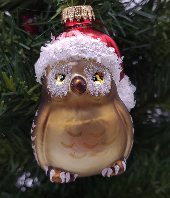 Owl in a Hat Glass Ornament - Schmidt Christmas Market Christmas Decoration