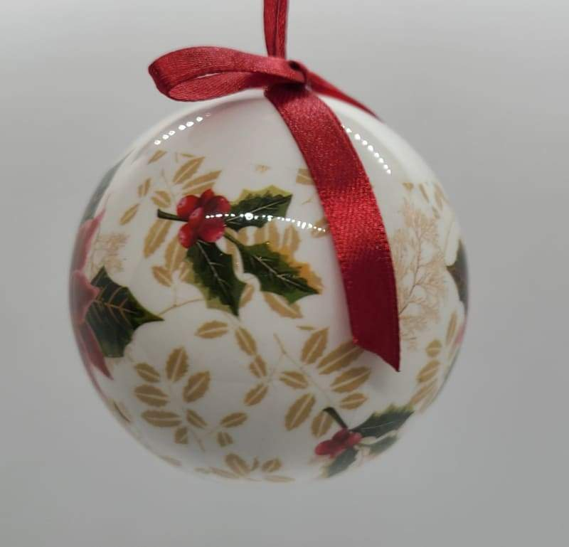 Poinsettia en Holly Bauble - Schmidt Kersmark Kersversiering