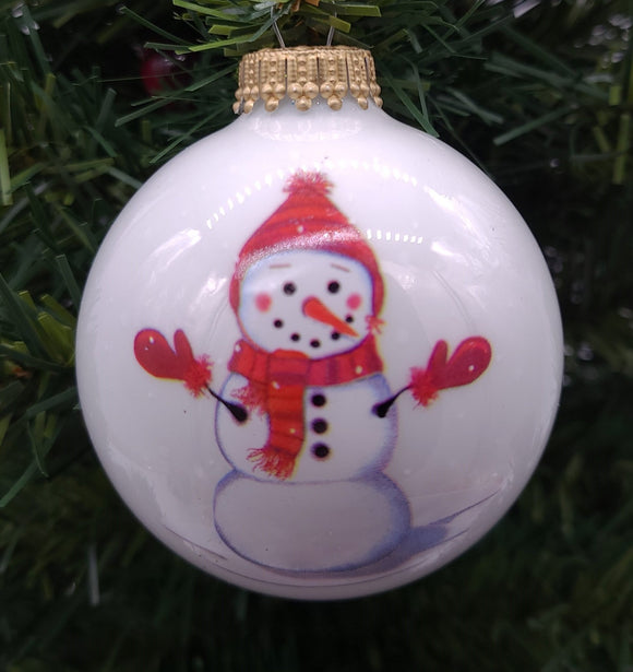 "Porcelain White 3"" Balls with Red Hat Snowman Ornament - Schmidt Christmas Market Christmas Decoration"
