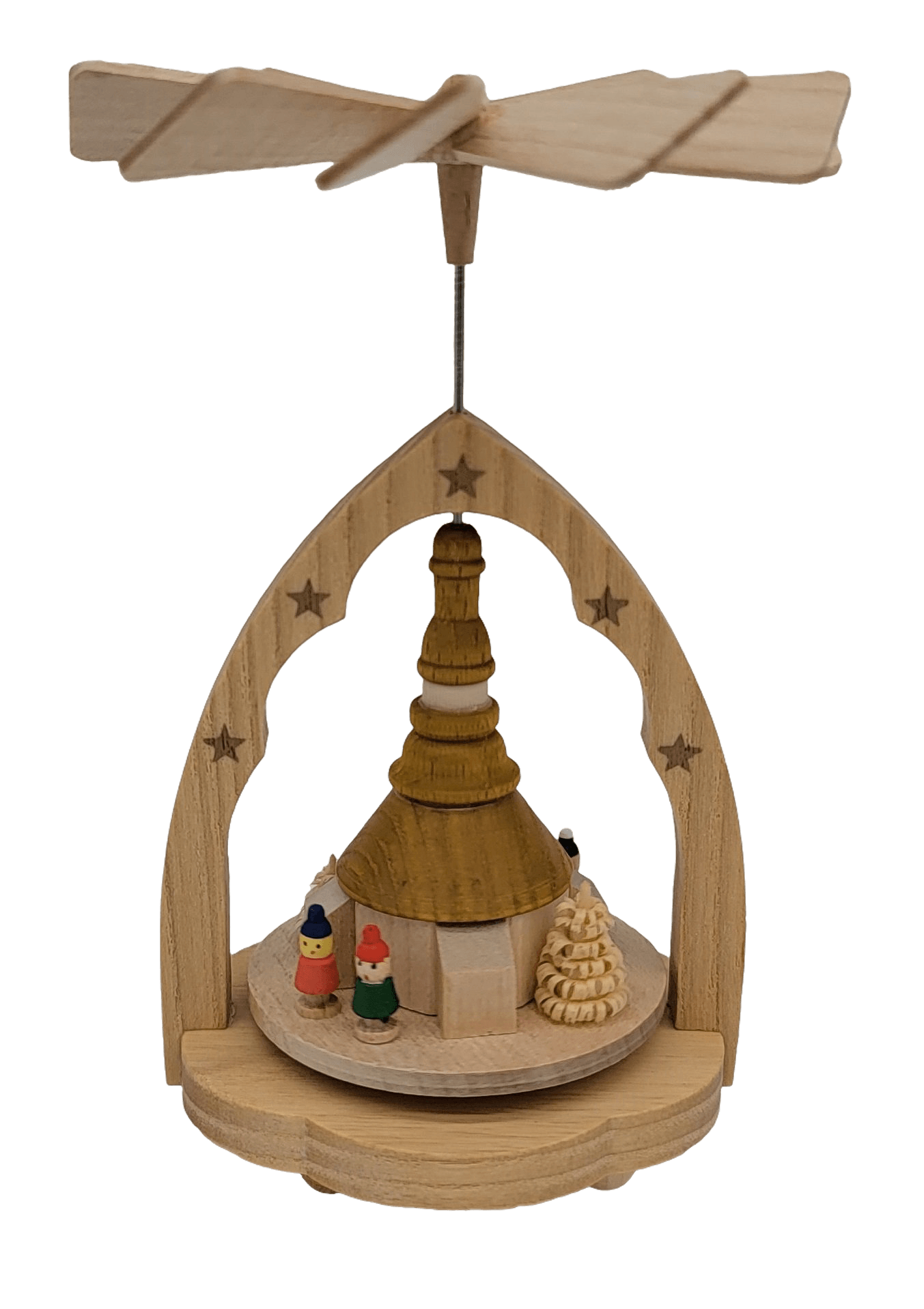 Pyramids - Richard Glaesser Seiffen church in natural wood with colorful people - Schmidt Christmas Market Christmas Decoration