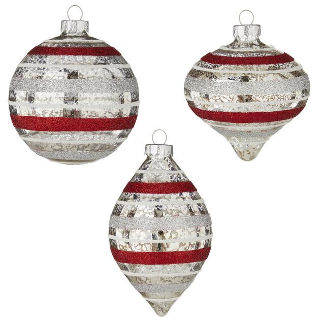 Red and Silver Striped Mercury Glass Christmas Ornament set of 3 - Schmidt Christmas Market Christmas Decoration