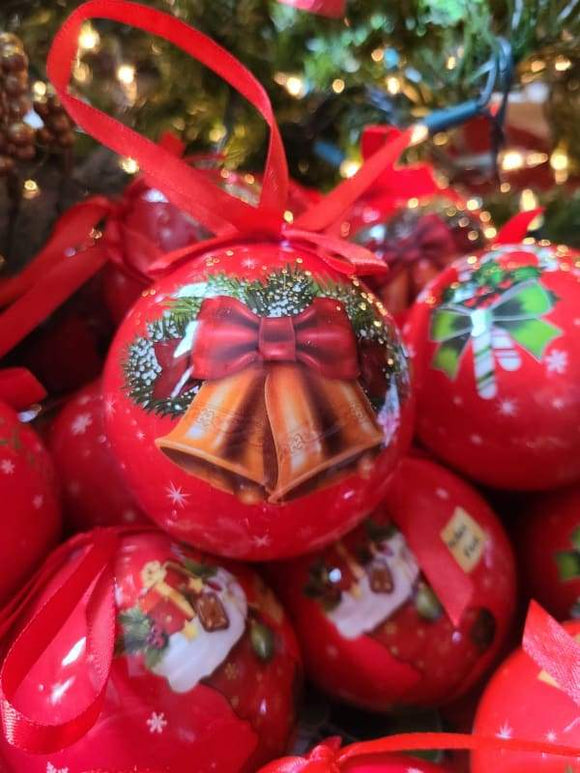 Red Bauble with Golden Bells - Schmidt Christmas Market Christmas Decoration