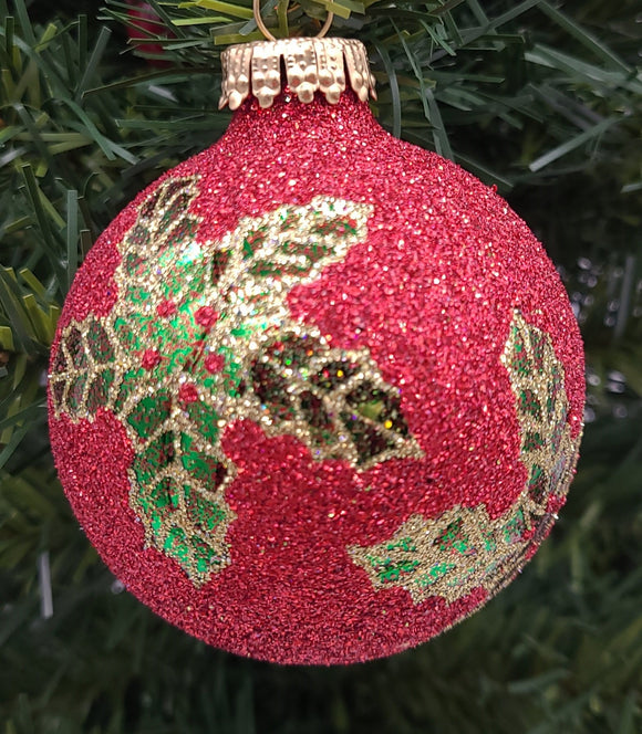 Red Bauble with Holly and Scrolls with Gold Crown Cap Ornament - Schmidt Christmas Market Christmas Decoration