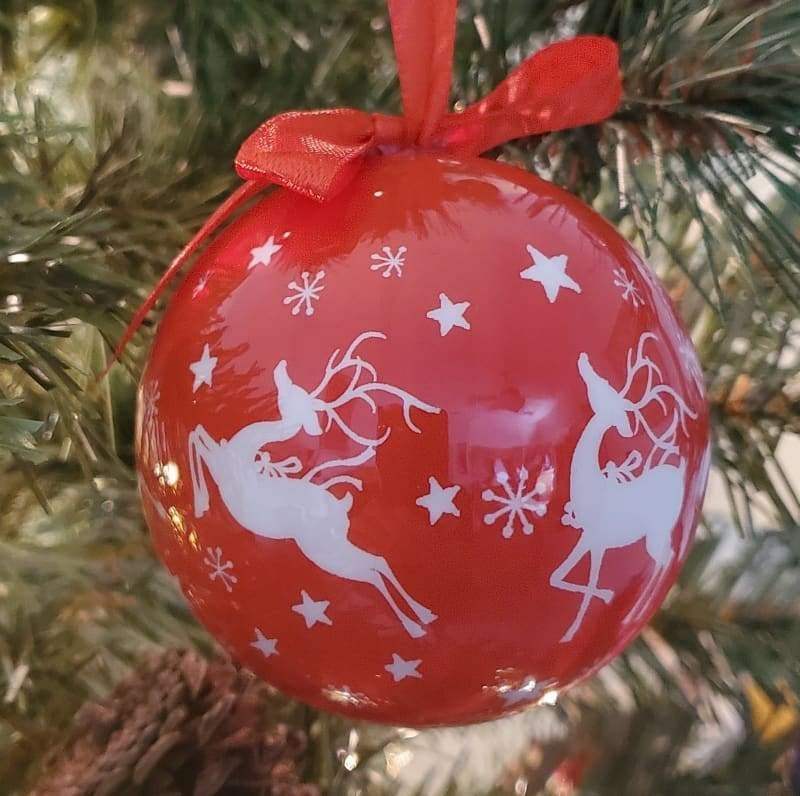 Red Bauble with White Reindeers - Schmidt Christmas Market Christmas Decoration