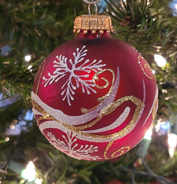 "Red Velvet 4"" Ball with Gold & Silver Snowflake - Schmidt Christmas Market Christmas Decoration"