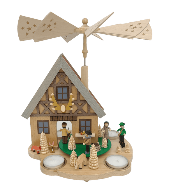 Richard Glaesser Pyramidenhaus Forsthaus for tea lights from Seiffen in the Ore Mountains 12inch - Schmidt Christmas Market Christmas Decoration
