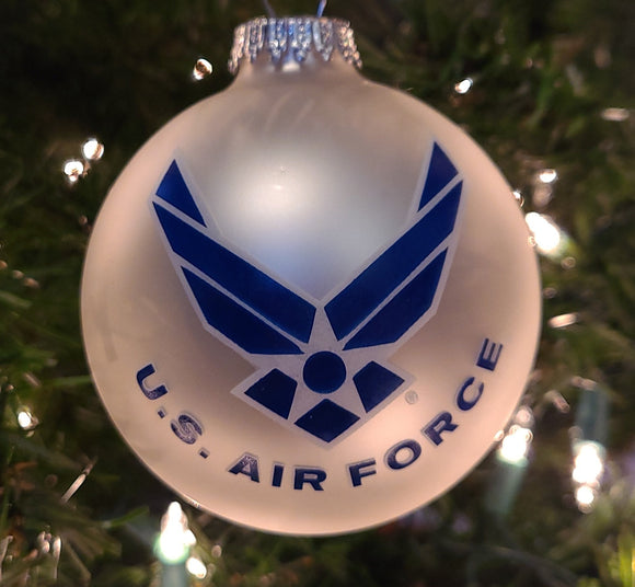 "Silver Pearl 3 1/4"" Ball with US Air Force Logo and Hymn - Schmidt Christmas Market Christmas Decoration"