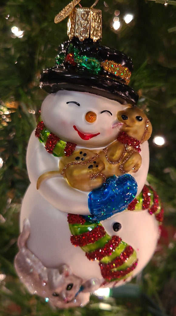 Snowman With Playful Pets Ornament - Schmidt Christmas Market Christmas Decoration