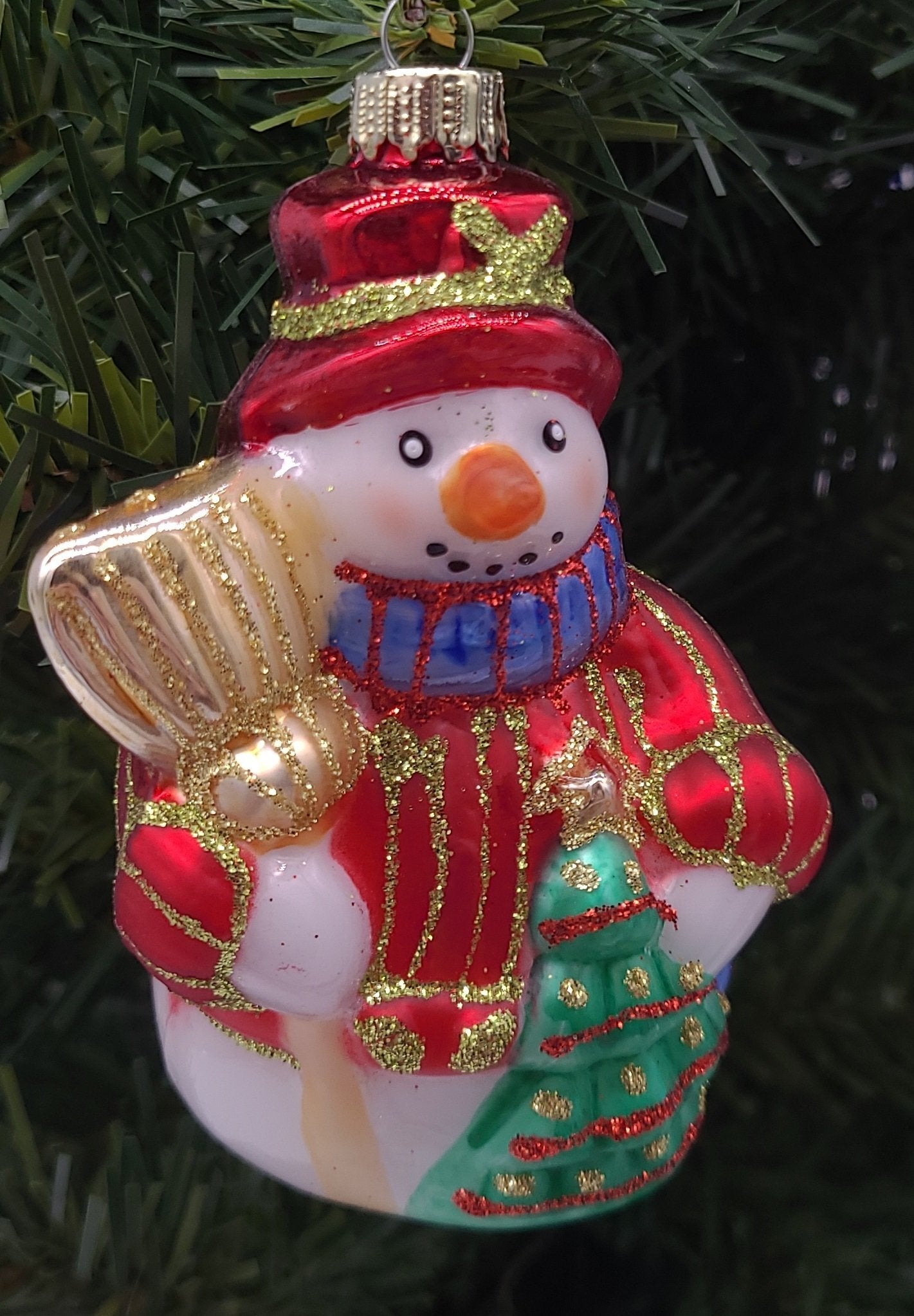 Snowman with Tree Glass Ornament - Schmidt Christmas Market Christmas Decoration