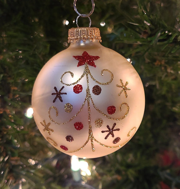 "Vanilla Ice Velvet 2 5/8"" Balls with Curly Tree - Schmidt Christmas Market Christmas Decoration"