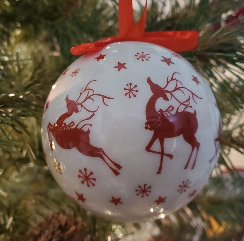White Bauble with Red Reindeers - Schmidt Christmas Market Christmas Decoration