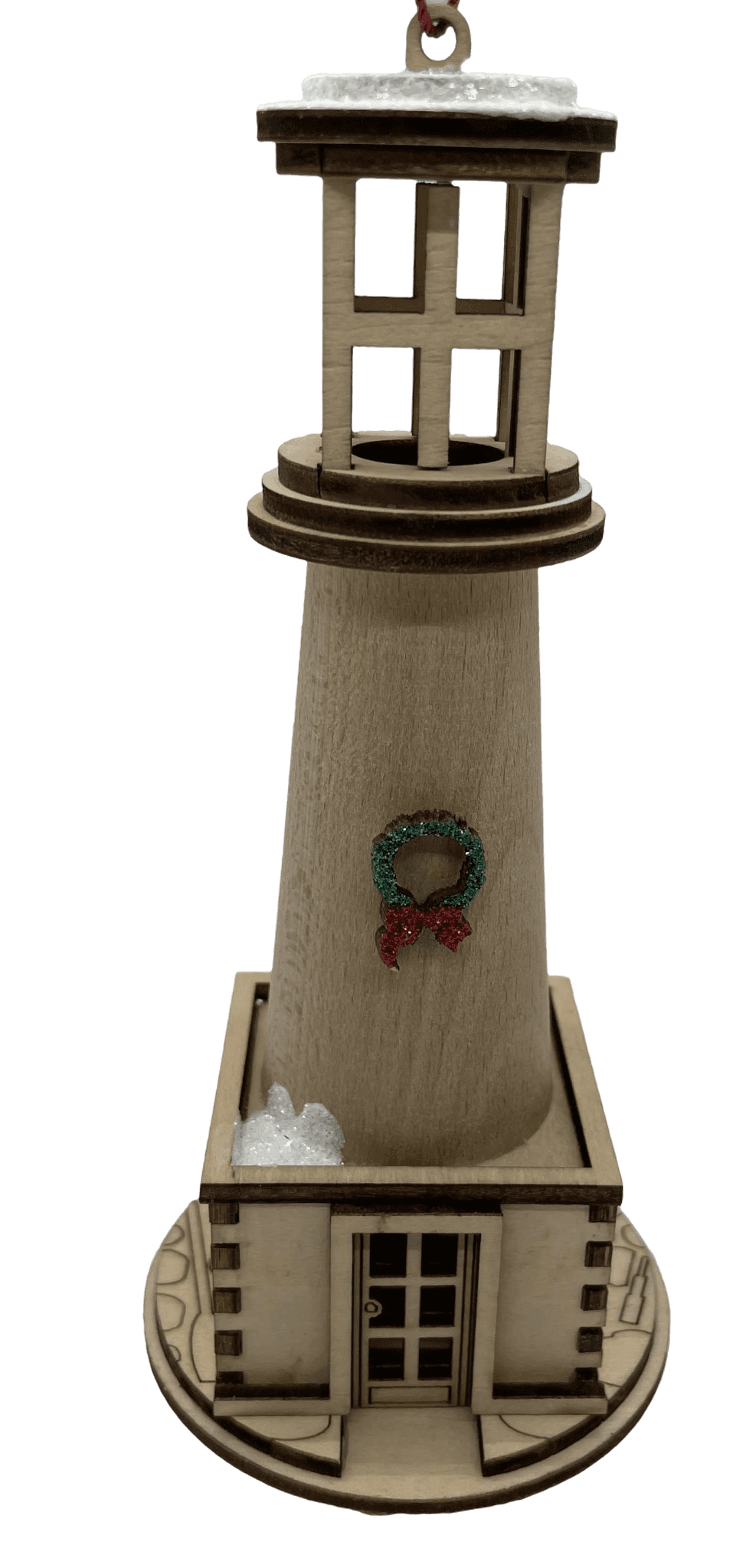 Wood Holiday Lighthouse Christmas Village - Schmidt Kersmark Kersversiering