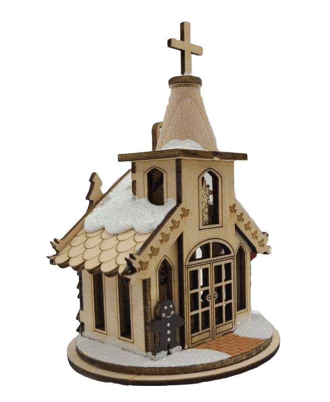 Wood Nativity Chapel Christmas Village - Schmidt Kersmark Kersversiering