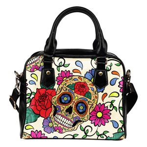 Flower Sugar Skull Shoulder Handbag