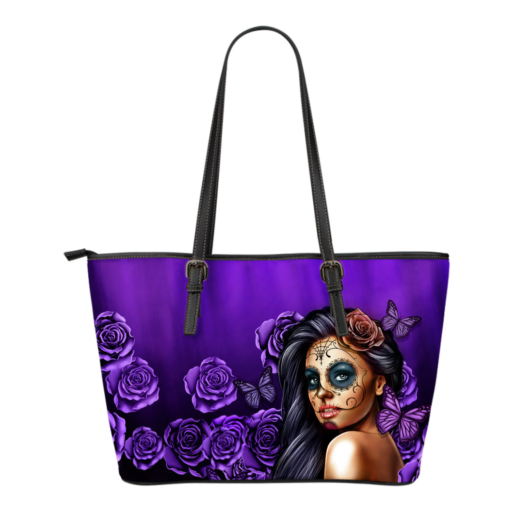 Beautiful Custom Calavera Purple Small Leather Tote