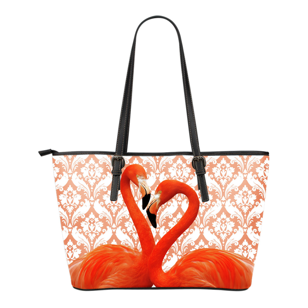 Flamingo Flocking Leather Tote Bag